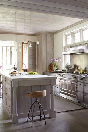 Country Kitchen with ARTERIORS Home Henson Swivel Bar Stool, Undermount sink, European Cabinets, Flush, Chateau 150, One-wall