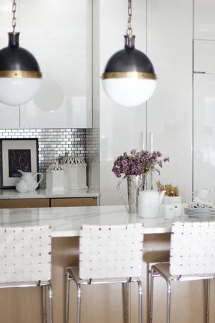 Contemporary Kitchen with Pendant light, Lacquer finish cabinets, Complex Marble, Flush, Subway Tile, Carrara marble