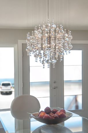 "Contemporary Entryway with Elegant Lighting Galaxy 32"" 6 Light Semi Flush Mount, French doors, Chandelier, Glass dining table"