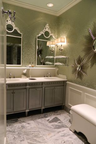 "Art Deco Full Bathroom with MSI 24"" x 12"" Polished Marble Tile in Carrara White, Mina Finca by Soleil Bleu"