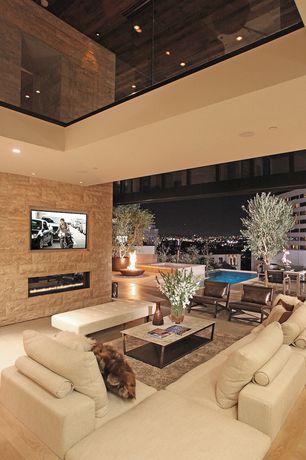 Contemporary Living Room with Hardwood floors, Loft