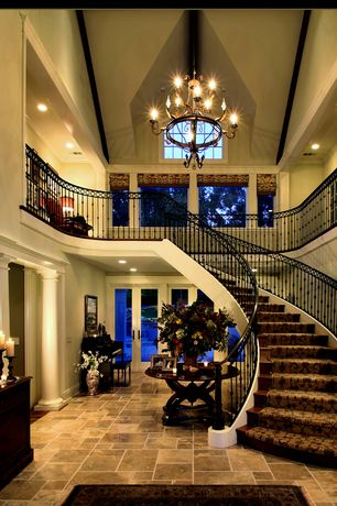 Traditional Staircase with slate floors, Chandelier, Loft, can lights, Exposed beam, Cathedral ceiling, curved staircase