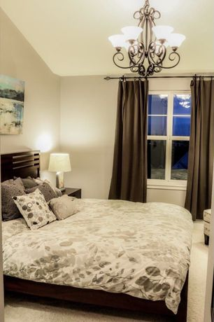 Contemporary Master Bedroom with Platform bed, Metal chandelier, Carpet, Chandelier, Floral duvet, Monochromatic