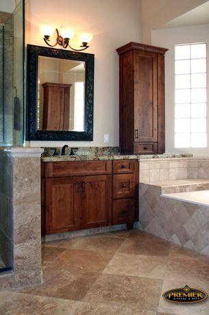 Craftsman Master Bathroom with Howard Elliott Barcelona Mirror, High ceiling, Complex Granite, Flush, Undermount sink