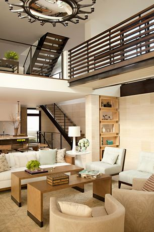 Contemporary Great Room with Chandelier, Cathedral ceiling, Carpet, Loft, French doors, Built-in bookshelf, Transom window