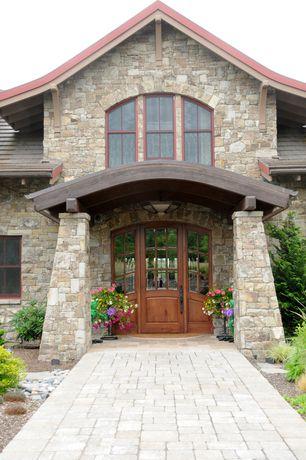 Country Front Door with Curved beam, Navilla Stone CobbleStone 70003, Pathway, Glass panel door, exterior stone floors