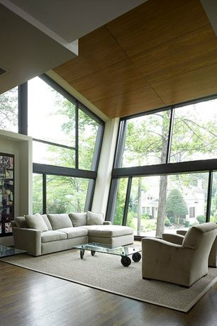 Contemporary Living Room with High ceiling, specialty window, Hardwood floors
