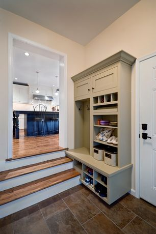 "Craftsman Mud Room with Built-in bookshelf, Ark floors 3-5/8"" hardwood solid acacia bronze, Klondike gold slate tile"