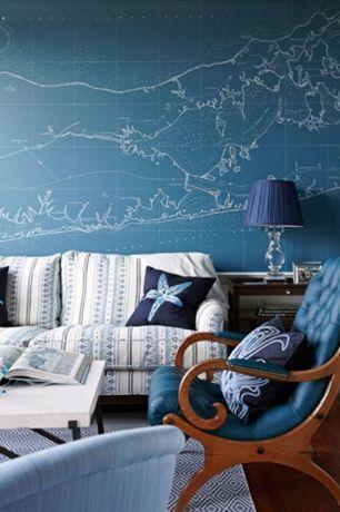 Cottage Living Room with D.L. Rhein Starfish Down Filled Embroidered Velvet Pillow, Hardwood floors, interior wallpaper