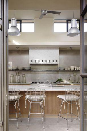 Contemporary Kitchen with European Cabinets, Ceiling fan, Pendant light, PentalQuartz BQ200 Super White, Breakfast bar, Flush
