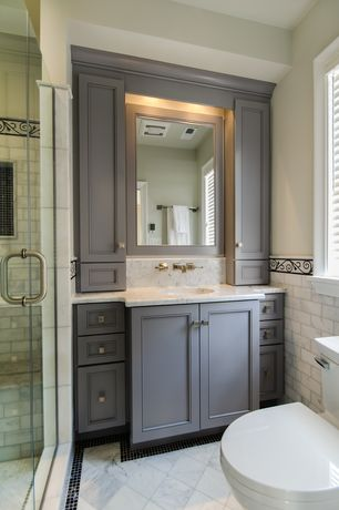 Traditional Master Bathroom with Undermount sink, Inset cabinets, Complex marble counters, Master bathroom, Complex Marble