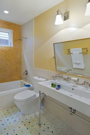 Contemporary Full Bathroom with Console sink, ceramic tile floors, tiled wall showerbath