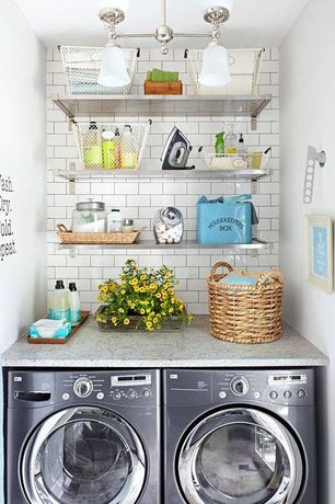 Contemporary Laundry Room with Pendant light, Ikea ekby mossby stainless steel shelf, Quartz counters, Built-in bookshelf