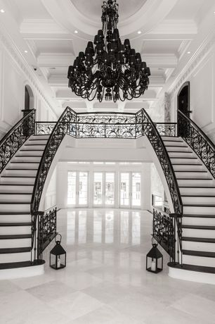 Traditional Staircase with Box ceiling, Double staircase, Chandelier, High ceiling, Laminate floors, Crown molding