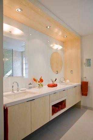 Contemporary Master Bathroom with Undermount sink, three quarter bath, frameless showerdoor, European Cabinets, flush light