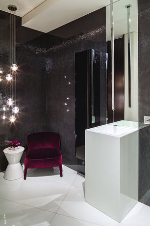 "Modern Powder Room with Epoch 5/8"" x 5/8"" Granite Polished Mosaic in Black Galaxy, Bocci 14.7 Seven Pendant Chandelier"