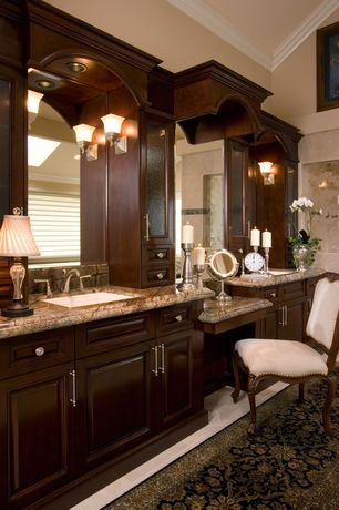 Traditional Master Bathroom with Complex granite counters, Wall sconce, Glass panel, Master bathroom, Flush, Undermount sink