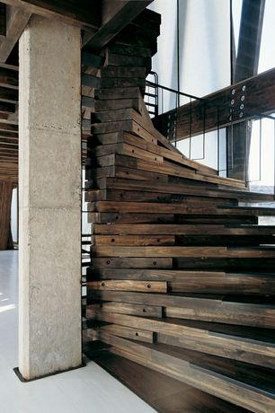 Eclectic Staircase with Exposed beam, Hardwood floors, Columns
