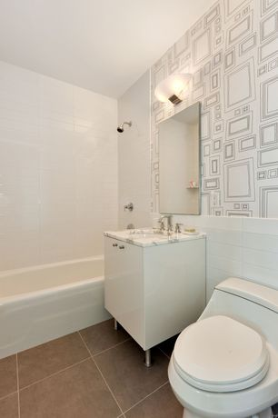 Eclectic Full Bathroom with interior wallpaper, partial backsplash, Paint 1, tiled wall showerbath, Console sink, Subway Tile