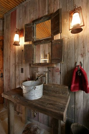 Rustic 3/4 Bathroom with Custom Reclaimed Timber Vanity, Custom vanity, Wood counters, Sutter's Mill Lantern Collection