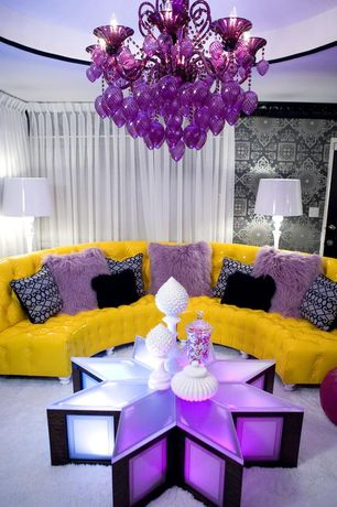 Eclectic Living Room with Bella Vetro Purple Glass Chandelier, interior wallpaper, Crown molding, Carpet, Chandelier
