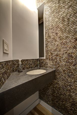 Modern Powder Room with Powder room, Flush, Undermount sink, European Cabinets, Hardwood floors, Simple granite counters