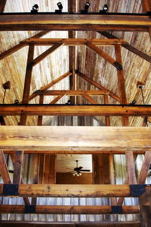 Rustic Living Room with Chandelier, Exposed beam, High ceiling, Ceiling fan, flush light