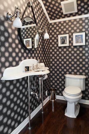 Contemporary Powder Room with interior wallpaper, Crown molding, Corian counters, Hardwood floors, partial backsplash