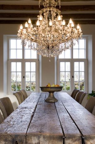 Rustic Dining Room with Chandelier, Paint 1, Casement, Standard height, Exposed beam