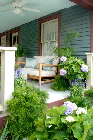 Traditional Porch with Wrap around porch, Glass panel door, Classic Teak Lover Seat