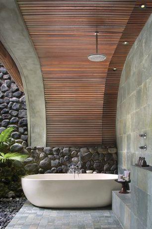 """Eclectic Full Bathroom with slate tile floors, Rain shower, Freestanding, Moen nickel 10"""" rainshower shower head"""