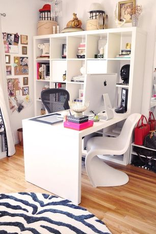 Contemporary Home Office with Continental rug company cloud ivory / black area rug, Chandelier, Ikea kallax shelving unit