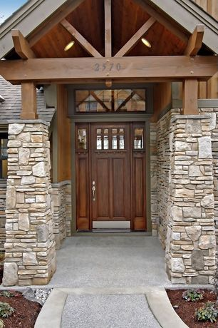 Craftsman Front Door with Paint 2, Arched window, Glass panel door, Paint 1, Transom window, exterior stone floors