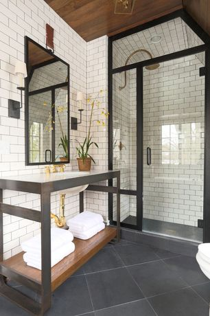 Contemporary 3/4 Bathroom with Rain shower, Wall sconce, Console sink, Corian counters, Wall Tiles, can lights, Shower