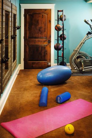 Traditional Home Gym with specialty door, Tone Fitness 65cm Anti-burst Stability Ball, Carpet