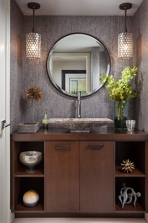 Contemporary Powder Room with Flush, European Cabinets, six panel door, Vessel sink, interior wallpaper, Powder room, Paint 1