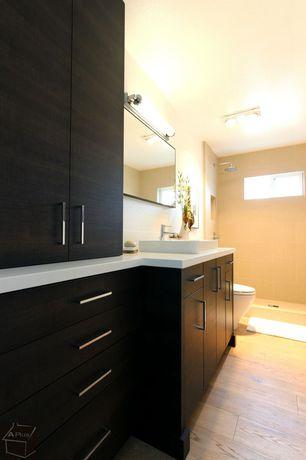 Contemporary 3/4 Bathroom with Hardwood floors, three quarter bath, Standard height, can lights, Shower, Flush, Vessel sink