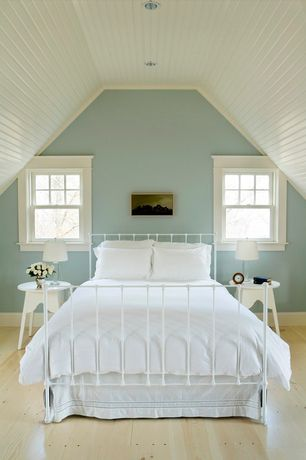 Cottage Guest Bedroom with Restoration Hardware Dutch Industrial Bed with Footoboard, Crown molding, Beadboard ceiling