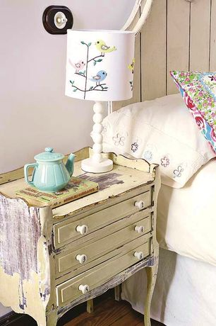 Eclectic Guest Bedroom with Hardwood floors, 3 Drawer Distressed Wood Chest, Juneberry And Bird Lampshade, Number Knobs