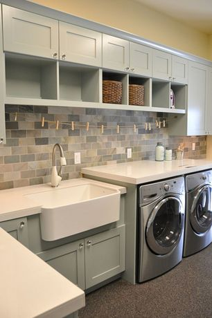Country Laundry Room with Mosaic floor and wall tile, laundry sink, Built-in bookshelf, Standard height, Hanging Bar, Paint