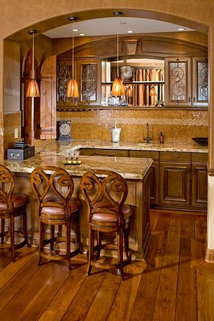 Traditional Bar with double-hung window, specialty window, Chair rail, Pendant light, AHB Artesian Counter Stool, can lights