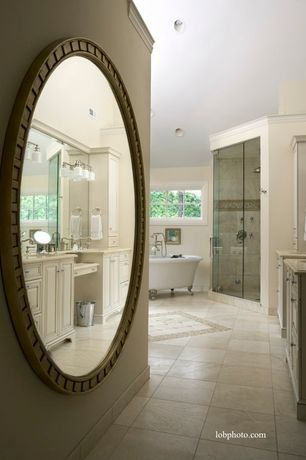 Traditional Master Bathroom with Inset cabinets, Rain shower, Wall sconce, Master bathroom, Raised panel, High ceiling