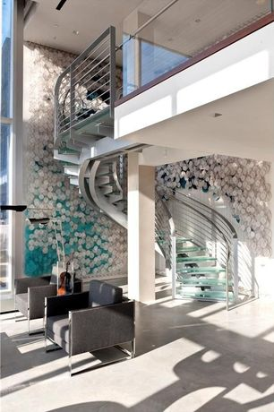 Contemporary Staircase with Columns, Spiral staircase