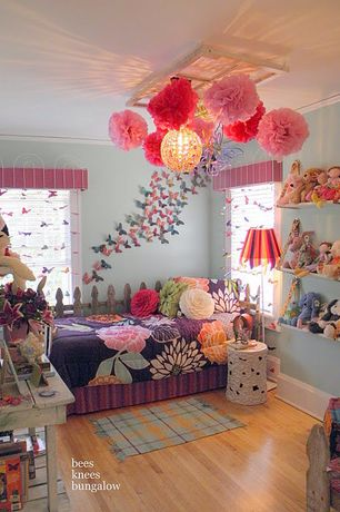 Eclectic Kids Bedroom with Built-in bookshelf, Pendant light, Overstock - Flower Show 7-piece Comforter Set, Hardwood floors