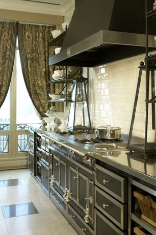 Country Kitchen with Balcony, White subway tile, Crown molding, Cuisine de Ch?teau Cabinetry, La Cornue - Chateau 150