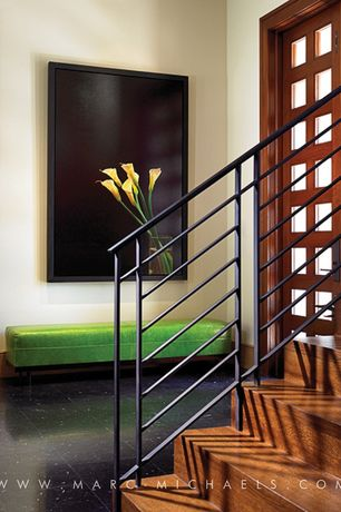 Contemporary Entryway with Glass panel door, stone tile floors, Standard height, soapstone tile floors