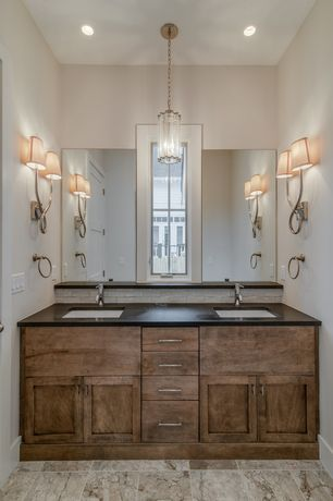 Contemporary Master Bathroom with Master bathroom, Ultracompact surface countertop, High ceiling, stone tile floors, Paint