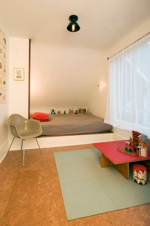 Contemporary Kids Bedroom with Wall sconce, Bunk beds, Concrete floors, flush light, picture window, Standard height