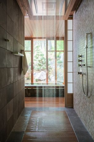 Contemporary Master Bathroom with Daltile City View Neighborhood Park Porcelain Tile, Shoji screen door, Rain shower