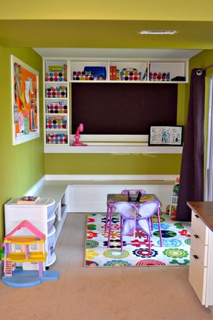 Contemporary Playroom with Carpet, Area rug, Built-in bookshelf, Built-in bench seating